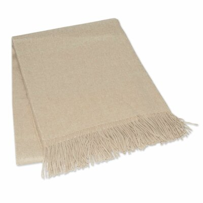Hand Crafted Alpaca Wool Throw Blanket Color: Beige