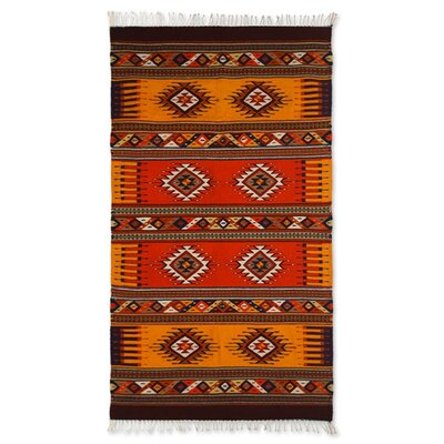 Artisan Crafted Unique Geometric  Summers Day Hand Woven Mexican Naturally Dyed Wool Home Decor Area Rug