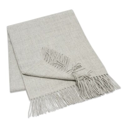 Hand Crafted Alpaca Wool Throw Blanket Color: Light Gray 199906
