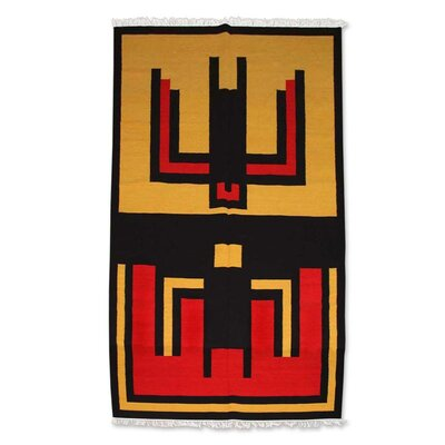 Hand-Loomed Yellow/Red Area Rug