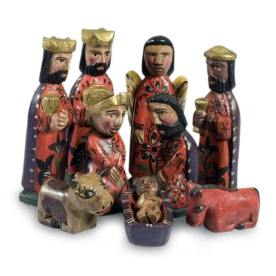 10 Piece Artisan Crafted Christianity Wood Nativity Scene Set