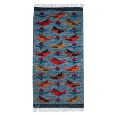 Bird Theme Hand-Woven Blue Area Rug