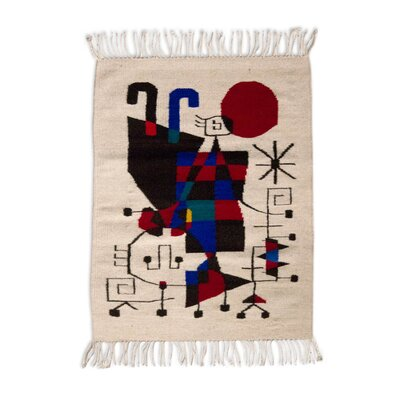Fair Trade Naturally Dyed  Tribute to Joan Miro Expertly Hand Woven Mexican Wool Home Decor Beige Area Rug