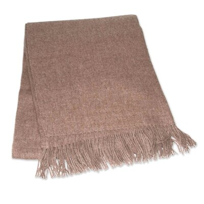 Hand Crafted Alpaca Wool Throw Blanket Color: Light Brown 199905
