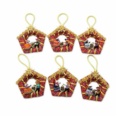 6 Piece Nativity Scene Handmade Christmas Ornament Set