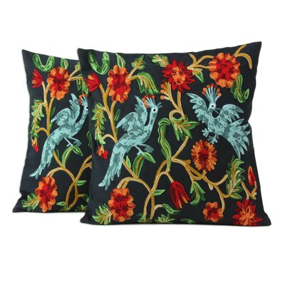 Chainstitch Embroidery Floral Cotton Pillow Cover