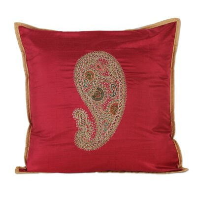 Hand-Embroidered Paisley Silk Pillow Cover