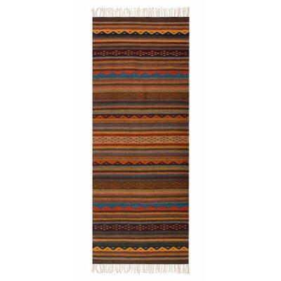 Handmade Brown/Orange Area Rug