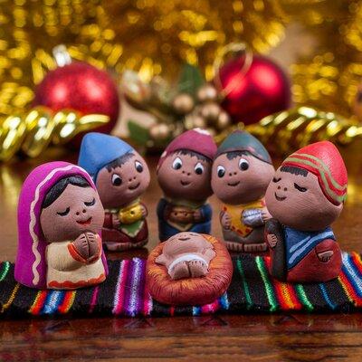 6 Piece Hand Crafted Ceramic Nativity Scene Statue Set