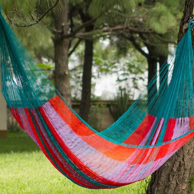 Maya Nylon Camping Hammock Color: Green, Lilac and Orange