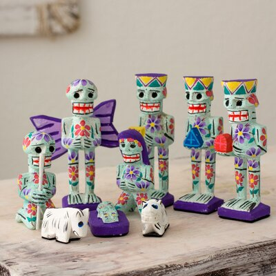 9 Piece Artisan Crafted Day of The Dead Theme Nativity Scene Set