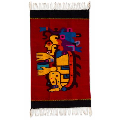 Hand-Woven Red/Yellow Area Rug