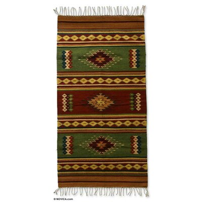 Weare Hand-Loomed Green Area Rug