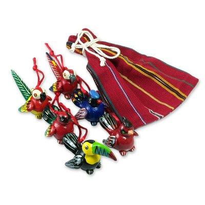 Jose Arriola Christmas Bird 7 Piece Ceramic Handmade Ornament Set