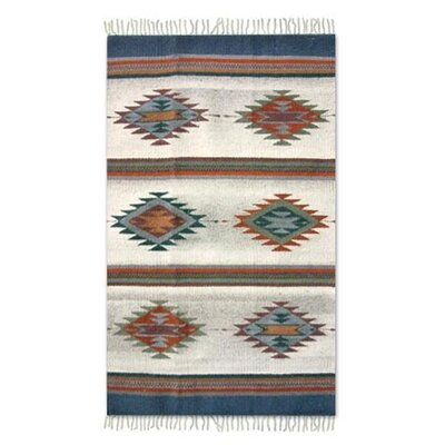 Zapotec Hand-Loomed Blue Area Rug