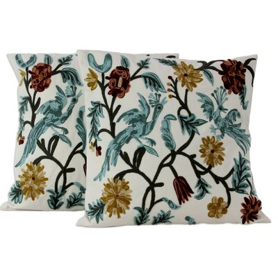 Amit Moza Floral Cotton Throw Pillow Cover