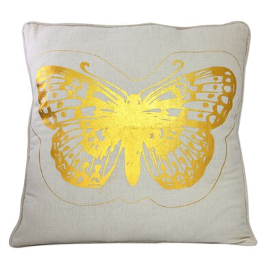 Seema Golden Butterflies Cotton Throw Pillow Cover