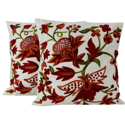 Amit Moza Chainstitch Embroidery Cotton Throw Pillow Cover
