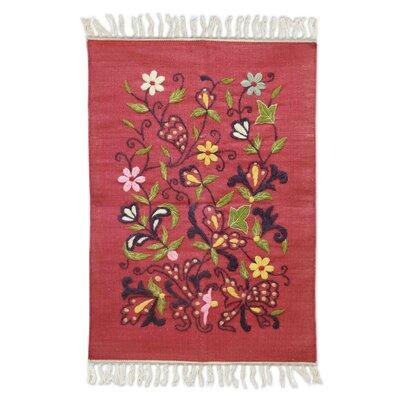 Mahmood Hand Crafted Red Area Rug