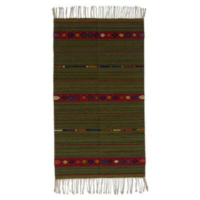 Zapotec Hand-Loomed Green Area Rug