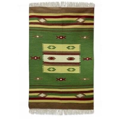 Sonik Sethi Hand-Crafted Green Area Rug