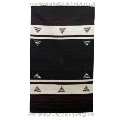 Fair Trade Striped Burgundy Triangles Expertly Hand Woven Indian Wool Home Decor Area Rug