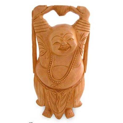 Kadam Wood 'Laughing Buddha' Sculpture (India)