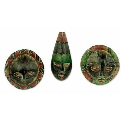 Daniel Nyadedzor Christmas 3 Piece Artisan Crafted Wood Ornament Set
