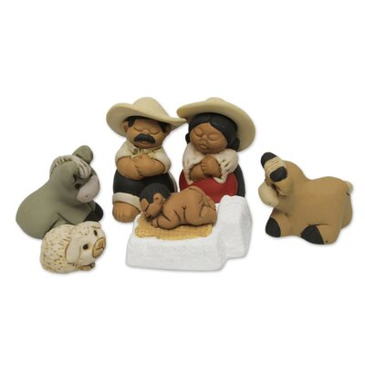 Guillermo and Eduardo 7 Piece Artisan Crafted Peruvian Nativity Scene Set