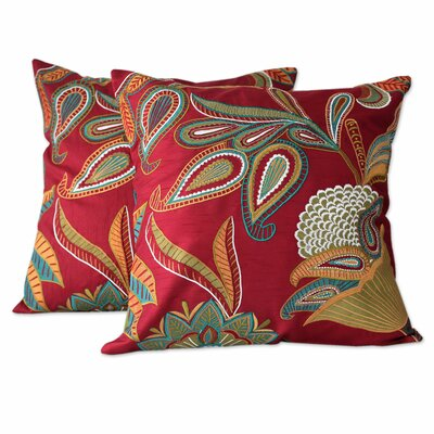 Seema Handmade Embroidered Applique Throw Pillow Cover