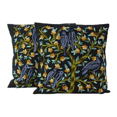 Birds in the Night Aari Embroidered Cotton Pillow Cover