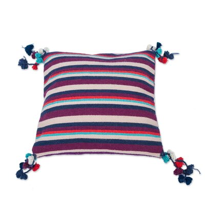 Andean Jacaranda Striped Handwoven Wool Pillow Cover