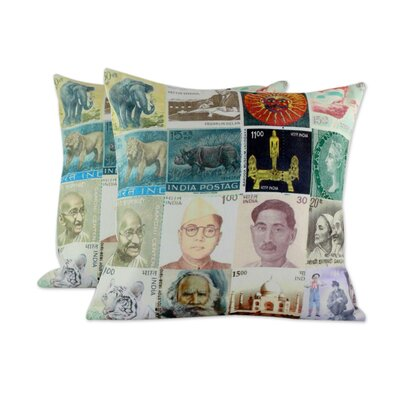 Back in Time II Square Cotton Pillow Cover