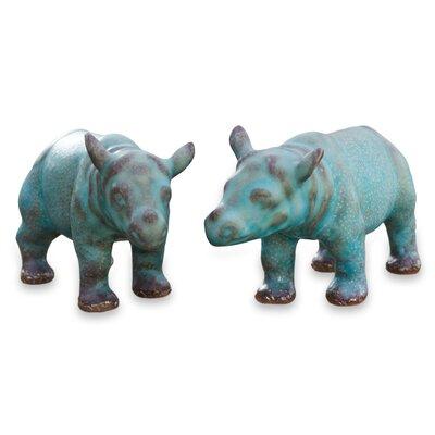 Rhinos Celadon Ceramic Figurine 195581