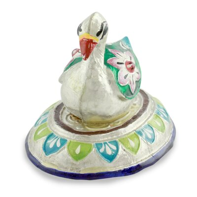 Varanasi Duck Meenakari Enamel on Sterling Silver Figurine 217343