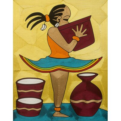 Handmade Threadwork Art of Young African Girl with Bowl Ama II by Ernestina Oppong Asante Painting 233591
