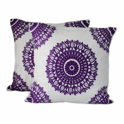 Mandalas Embroidered Cotton Pillow Cover