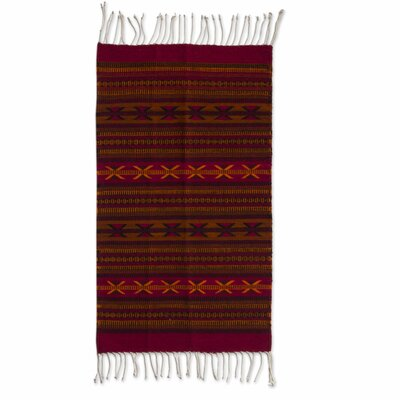 Weare Organic Dyed Traditional Cross Expertly Hand Woven Mexican Wool Home Decor Burgundy Area Rug