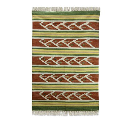 Hand Woven Green/Brown Area Rug