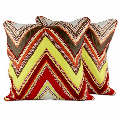 Zigzag Brilliance Embroidered Applique Pillow Cover