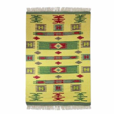 Hand Woven Yellow Area Rug