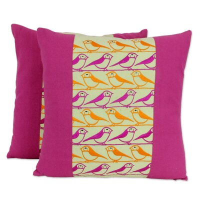 Singing Birds Artisan Crafted Square Cotton Pillow Cover