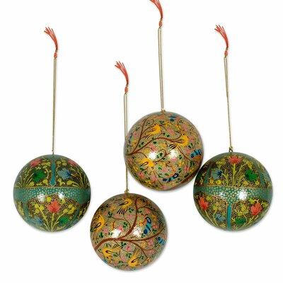 4 Piece Garden Fantasy Fair Trade Christmas Papier Mache Bird Ornament Set