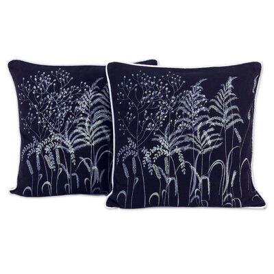 Thai Grasses Floral Hand Crafted Cotton Pillow Cover