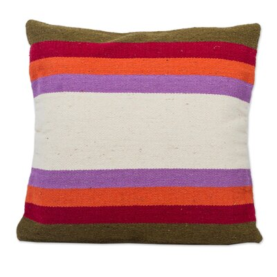 Springtime Symmetry Handwoven Striped Wool Pillow Cover
