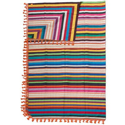 Zapotec Sunset Artisan Crafted Cotton Striped King Blanket