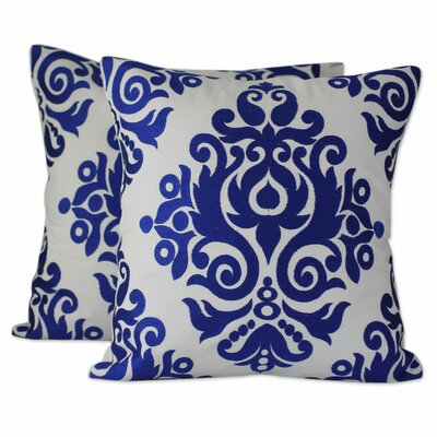Sapphire Beauty Embroidered Cotton Pillow Cover