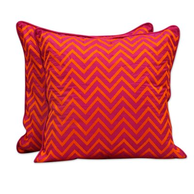 Tribal Machine Embroidered Geometric Pillow Cover Color: Orange / Fuchsia