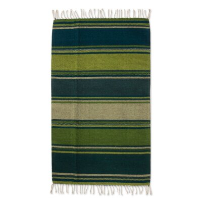 Mcfarlin Striped Traditional Nature Inspired Hillsides Expertly Hand Woven Mexican Wool Home Decor Green/Teal Area Rug