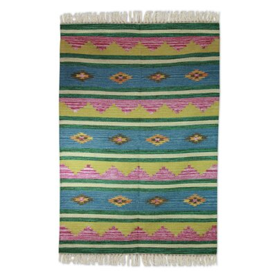 Hand Woven Green/Blue Area Rug